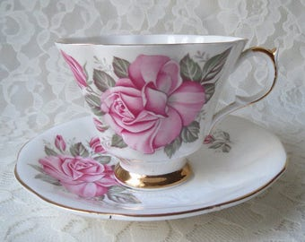 Vintage Queen Anne Bone China with Pink Roses and Gold Trim Teacup & Saucer Set Made in England
