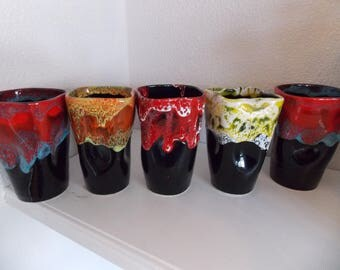 French pottery brush pot,  pen pot, unusual colourful pots choose from one of 5