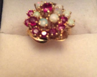 ruby/opal cluster 14k gold ring