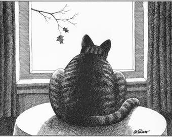 "KLIBAN Cat Original Vintage Art Print entitled ""Fall-Cat """