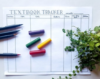 Hand-Drawn Printable Textbook Tracker