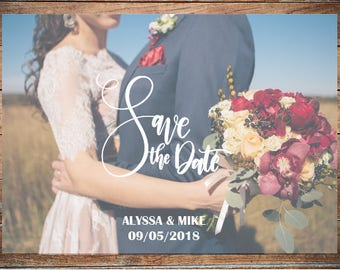 Photo save the date card Wedding save the date template Save date photo card Printable save the date invitation Rustic save the date Digital