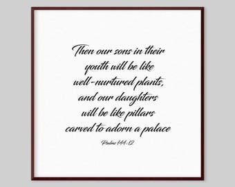 Psalms 144:12 Scripture Canvas Wall Art - Then our sons in their youth will be like well-nurtured plants