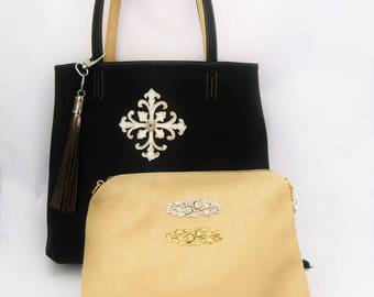 Large Black Tote with inner Beige Handbag Embellished with Vintage Style Leather Crosses, Tassel and Filigrees.