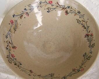 Handmade Floral Serving Bowl Wheel Thrown Pottery Bowl Serving Bowl Rustic Decor Brown Floral  Bowl Wheelthrown Pottery Vegetable Bowl