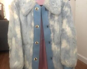 Blue and White Rabbit Fur Coat