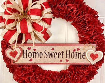 Beautiful Red and Burlap Everyday Wreath - Home Sweet Home