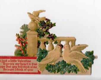 Vintage 3D Dove Valentine   Birds, Bird, Doves, Stand Up Greeting Card   Valentine's Day, Valentines  Paper Ephemera