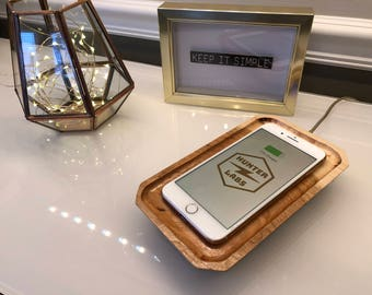 QI Wood Wireless Phone Charger, Bedside Valet