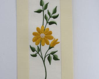 Fantastic Handmade Embroidered Gift Card With Flowers 100% Linen Fabric and Yellowish Carton Paper Size 10 x 21 cm. Envelope Included