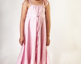 Girls Pink Linen Shoulder Straps Sleeveless Dress Size 5 - 6 Years