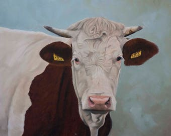 Painting a cow in oil painting 1