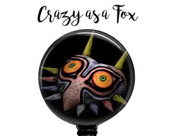 Legend Of Zelda  Majoras Mask Retractable Badge Holder, Badge Reel, Lanyard, Stethoscope ID Tag, Nurse, MD, Student