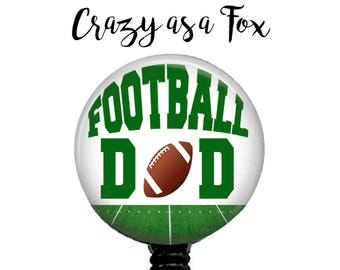 Football Dad Retractable Badge Holder, Badge Reel, Lanyard, Stethoscope ID Tag, Nurse, RN, Doctor, Teacher, md cna lpn rrt pa gift