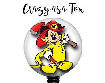 Mickey Mouse Firefighter Retractable Badge Holder, Fire Fighter  Badge Reel, Lanyard, Stethoscope ID Tag, Nurse, RN, Doctor, Teacher Gift