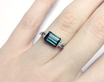 Tourmaline and diamond engagement ring in white gold
