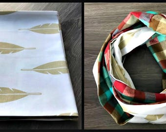 Gold Feather Infinity Scarf