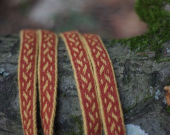 Viking tablet weave, Viking belt, brown and yellow colors wool, clothing accessory, reenactment, unique detail in modern clothing