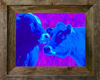 "Blue Cows - FRAMED - (14"" x 11"") FREE SHIPPING!"