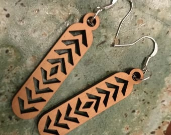 Cherry Earrings - Chevron Pattern