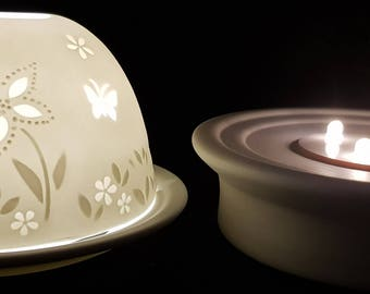 Hand Etched White Porcelain Tealight Candle Holder and LED Porcelain Base- Butterfly