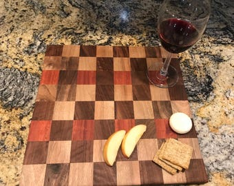 Handmade Cutting Board Checkerboard Design