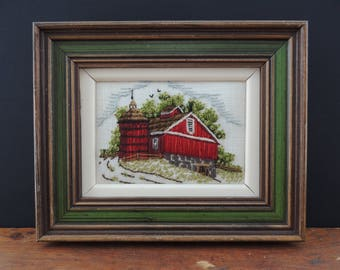 "Vintage Needle Point ""Red Barn""  Folk Art"