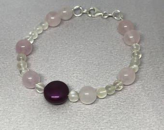 Rose Quartz and White Moonstone Gemstone and Swarovski Blackberry Pearl Coin Beaded Bracelet.