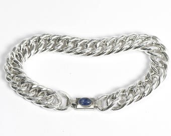 Sterling silver chain & link bracelet   closure with stone   handmade jewelry   statement women bracelet   made in Israel