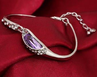 Metal bracelet * Glitter stone Purple