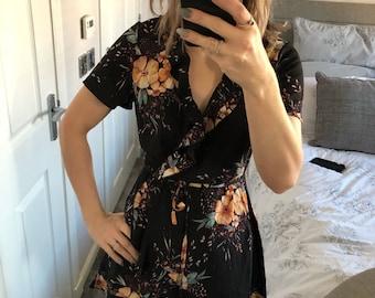 Black floral tea dress