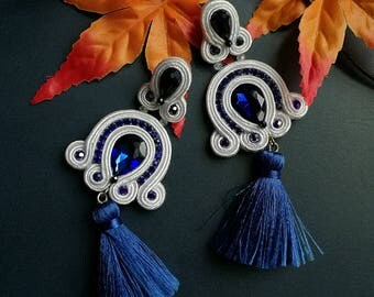 Deep Blue Crystal Soutache Earrings Statement Earrings Ethnic Boho Chic White and Blue Tassel Earrings
