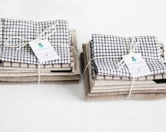 Pure linen remnants, natural linen fabric, organic linen scraps, fabric bundle, grey linen fabric, vintage linen for crafts, rustic linen