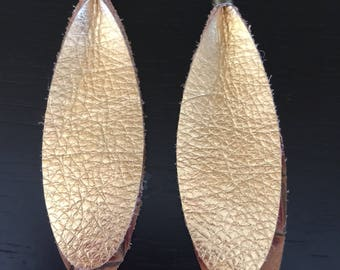 Two toned brick colored genuine leather layered with gold metalic leather drop earrings.