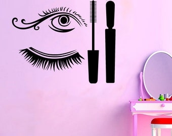 Wall Decal Window Sticker Beauty Salon Woman Face Eyelashes Lashes Eyebrows Brows t34