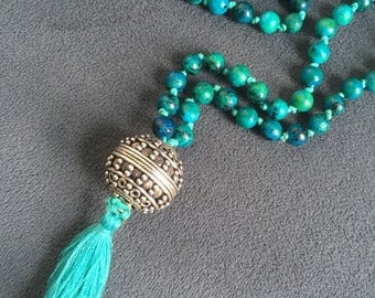 Silver and Glass Hand Knotted Mala with Cotton Tassel