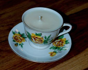 Vintage Tea Cup Candle (Lemongrass Fragrance)