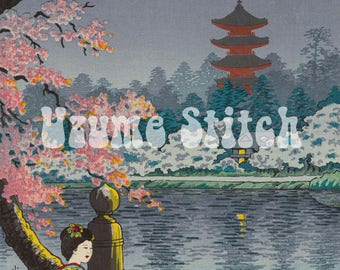 "Japanese art Cross Stitch Pattern for Instant Download, ""Ueno Kouen"" by Tsuchiya Kouitsu,Large cross stitch chart"