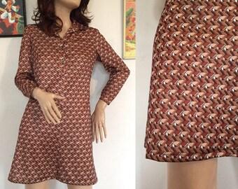 Vintage 60s 70s Mini Dress Size 8/10