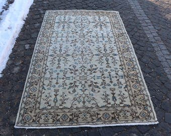 Rustic Rug Turkish Handknotted Rug Home Design Area Rug Free Shipping 4.1 x 6.6 ft. Oushak Rug Boho Rug Livingroom Rug Bedroom Rug MB27