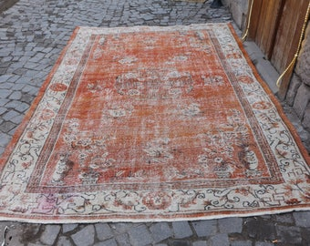 Rare anatolian hanknoted organic oushak rug handknotted turkish rug 6.9 x 10.1 ft. pale color wool Free Shipping tribal area rug rugs MB209