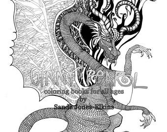 Dragon, High Def Digital Download Color Page to Sample, illustration by Sande Jones-Elkins