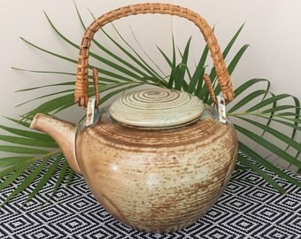 Vintage Teapot // Wrapped Bamboo Handle // Pottery