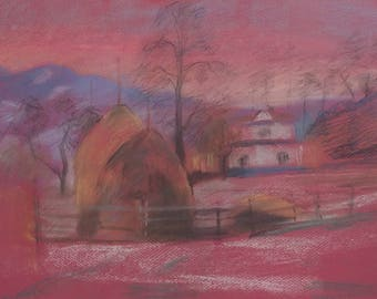 Winter landscape  Hay Pink colors Original pastel drawing by Galina.