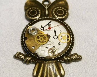 Steampunk recycled timex cog owl necklace clockwork owl upcycled with watch cogs  pendant steampunk  cogs and gears