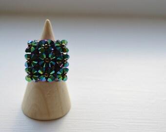 Swarovski Crystals Beaded Ring, Metallic Scarabaeus Green