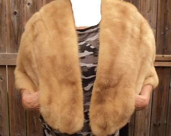 Honey Mink Fur Stole Wrap Women's Coat Jacket CAPE