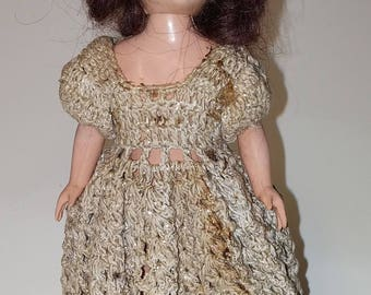 "Vintage Plastic Doll, Crocheted Dress, Moving Arms Head and Eyes, 7"" tall"