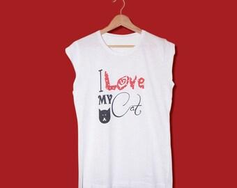 T-Shirt I Love my cat-cotton 100%