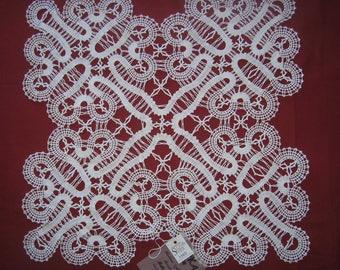 Bobbin Lace Tablecloth Decorative Room Decoration Cloth Cotton Thread Doily Unique Handmade White Square Doilies
